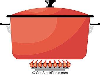 stove., gas, beeld, metaal, illustratie, fire., vector, rood, keuken, spotprent, pan, liggen