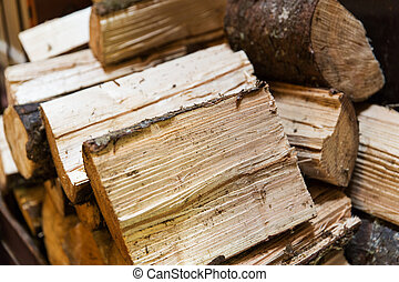 close up of firewood pile