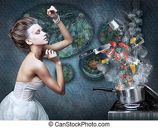 Stove. Housewife prepares meals. Food ingredients in smoke...