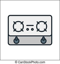 stove icon color illustration design