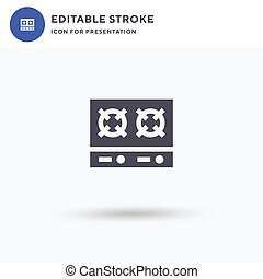 Stove icon vector, filled flat sign, solid pictogram isolated on white, logo illustration. Stove icon for presentation.