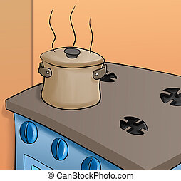 stove in the kitchen - pot in a top of the stove, it is very...