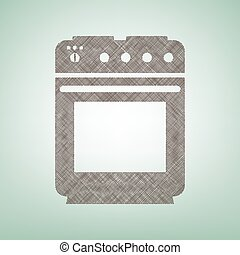Stove sign. Vector. Brown flax icon on green background with light spot at the center.