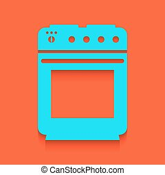 Stove sign. Vector. Whitish icon on brick wall as background.