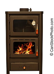stove with fire burning
