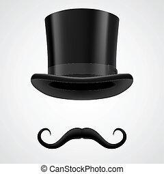 stovepipe, mago, cappello, moustaches