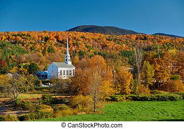 stowe, automne, iconique, nouveau, église, ville, angleterre