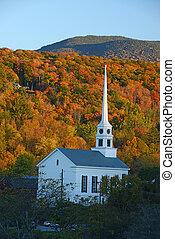 stowe church autumn - a church in autumn at stowe, vermont