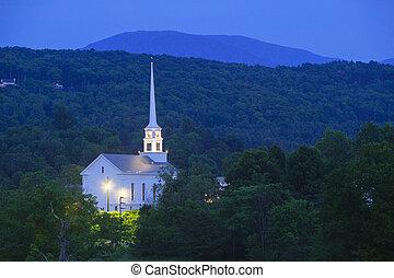 Stowe Community Church at dusk
