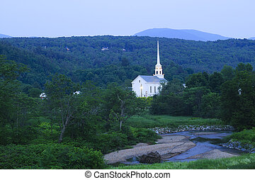Stowe Community Church at dusk in Stowe, Vermont, USA