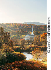 Stowe morning in Autumn with colorful foliage and community...