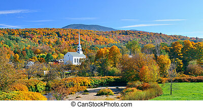 Stowe panorama in Autumn with colorful foliage and community...