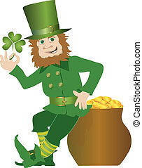 Green leprechaun and his pot of gold