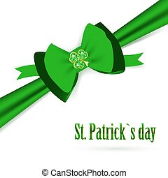 St.Patrick holiday green bow with emerald shamrock over...