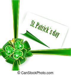 St.Patrick holiday green ribbon bow