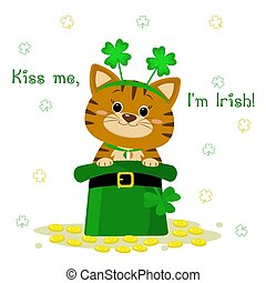 St.Patrick 's Day. A red tabby cat in a headband with clover, sits in a green hat, a leprechaun, gold coins. Cartoon style, flat design. Vector illustration