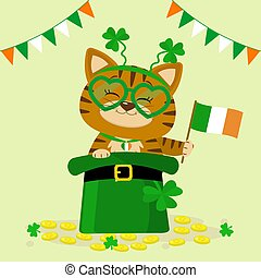 St.Patrick 's Day. A red tabby cat in a headband with clover, sits in a green hat, a leprechaun, gold coins, flag of ireland. Cartoon style, flat design. Vector illustration