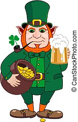 St.Patrick 's Day. Leprechaun with a mug of beer, a pipe and a pot of gold coins