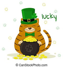 St.Patrick 's Day. Red striped cat in a green leprechaun hat, bowler with gold coins, clover. Cartoon style, flat design. Vector illustration