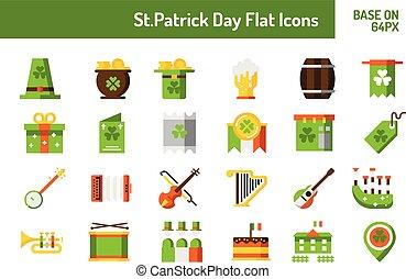 St.Patricks Day icon set. Flat icon base on 64 pixel with pixel perfect design