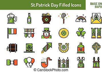 St.Patricks Day icon set. Outline filled icon base on 64 pixel with pixel perfect design. Vector illustration