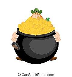 st.patricks, day., leprechaun, e, pote, de, gold., magia, anão, e, caldeira, de, dourado, moedas., feriado nacional, em, ireland., tradicional, irlandês, festival