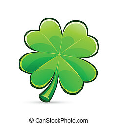 st.Patrick's Day's symbol glossy four-leaf clover. Isolated on white background.