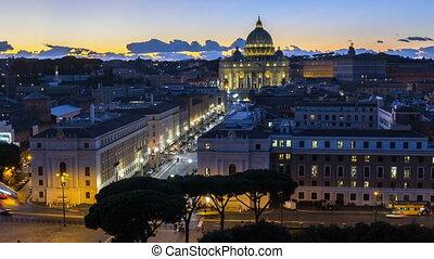 st.peter basilica vatican illuminated by night lights at...