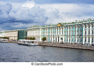 View Winter Palace in Saint Petersburg from Neva river. ...