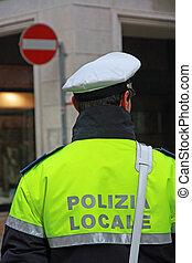 strážník, do, uniforma, o, ta, městský, kontrolovat, do,...