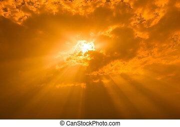 strålar av ljust, lysande, genom, skumma skyar, för,...