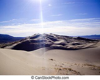 stråle, dyner, sol, kelso, kalifornien, öken