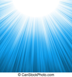 stråle, eps, solljus, tenplate., 8, sunburst