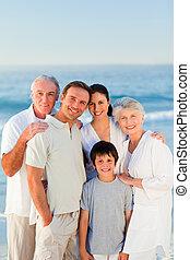 strålende, strand, familie