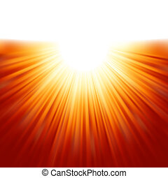 stråler, eps, sollys, tenplate., 8, sunburst