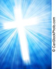 stråler, lys, abstrakt, kors, glødende, baggrund