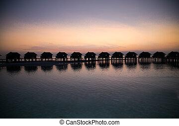 stróżówki, maldives., wyspa, woda, zachód słońca, luksus, olhuveli