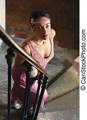 strój, 1920s, dama, schody