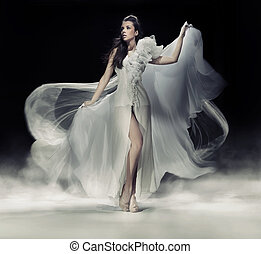 strój, biały, kobieta, brunetka, czuciowy