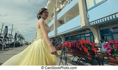 strój, bogaty, dziewczyna, piękny, lemony, pociągający, ...