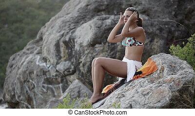 strój, dziewczyna, plaża