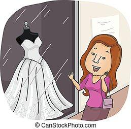 strój, dziewczyna, zakupy, okno, ślub