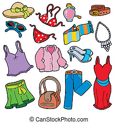 strój, kobieta, zbiór