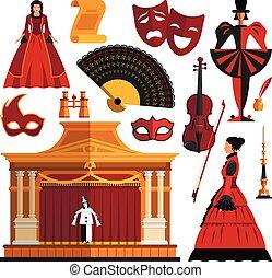 strój, komplet, teatr, ikony, obiekt, odizolowany, płaski, style., maska, wektor, projektować, tło., rusztowanie, aktorka, biały, elementy