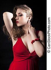 strój, pociągający, sexy, kobieta, czerwony, młody