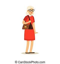 strój, wektor, barwny, senior, ilustracja, piękny, czerwony, kobieta, litera