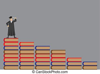 strój, wektor, książki, reputacja, absolwent, górny,...