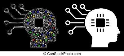 strömkrets, fläckar, ram, maska, signalljus, hjärna, ikon, ...