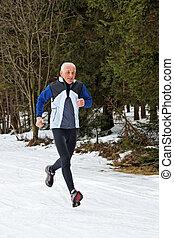 strömung, älter, winter, dauerlauf