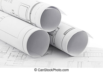 strůjce, závitky, a, nakreslit plán, konstrukce, plán, kreslení